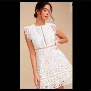 Bb Dakota Ariane White Lace Skater Dress